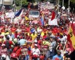 The working class takes to the streets of Caracas in support of the Bolivarian government of President Nicolas Maduro.