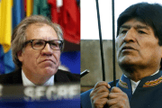 OAS Secretary-General Luis Almagro (L) and Bolivian President Evo Morales