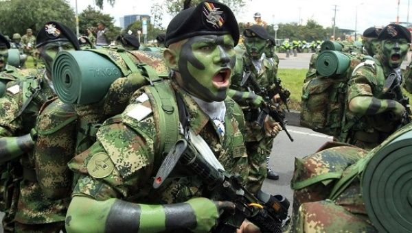 A Colombian soldier during a military parade