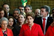 Brazil's former Rousseff speaks at the Alvorada Palace in Brasilia