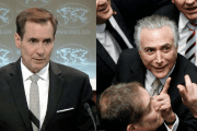 U.S. State Department spokesperson John Kirby (L) and Brazil's unelected president, Michel Temer