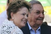 Rousseff and Cuba's President Raul Castro in Havana, in 2014