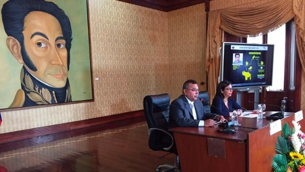 Venezuela's Foreign Minister Delcy Rodriguez and Justice Minister Nestor Reverol during a press conference in Caracas, Venezuela, Sep 2, 2016.