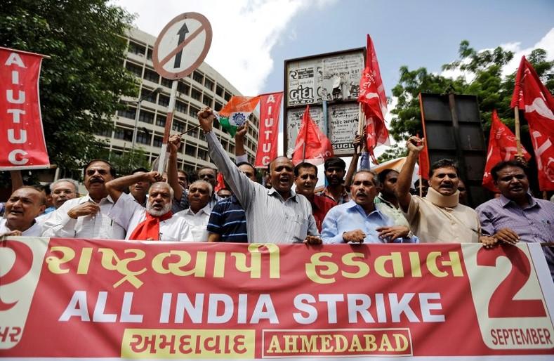 Hindistan: Fotoğraflarla 2 Eylül Genel Grevi