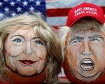 The images of U.S. Democratic presidential candidate Hillary Clinton (L) and Republican rival Donald Trump are seen painted on decorative pumpkins in LaSalle, Illinois, U.S., June 8, 2016.