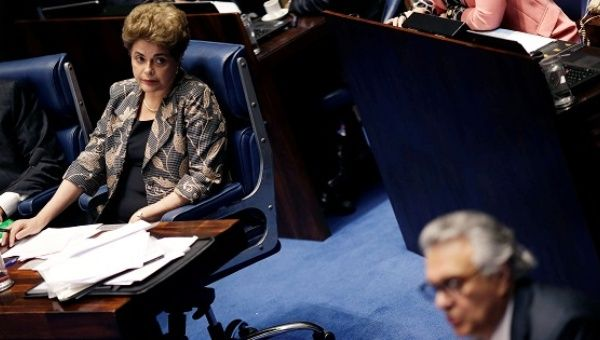 Dilma Rousseff during a final Senate session on her impeachment trial in Brasilia