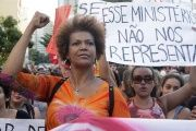 Brazilian women protest against the coup government of Michel Temer.