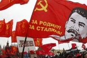 Supporters of the Russian communist party attend a rally.