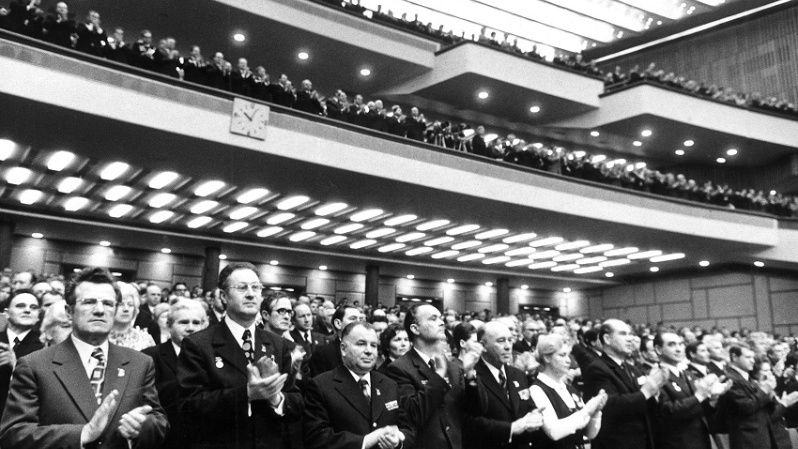 The audience of the 25th Congress of the Communist Party applaud a speech by General-Secretary Leonid Brezhnev, 1976.