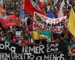 Demonstrators protest against President Michel Temer in Sao Paulo, Brazil, Sept. 7, 2016.