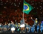 Athletes from Brazil take part in the opening ceremony.