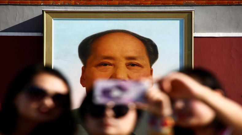 El pueblo se hizo autorretratos con el popular cuadro que más caracteriza al líder comunista.