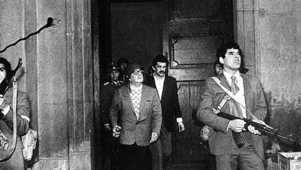Allende during his last moments in La Moneda presidential palace, 1973