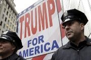 NY City police outside the Trump Tower building in Manhattan during a protest against Donald Trump, March 19, 2016.