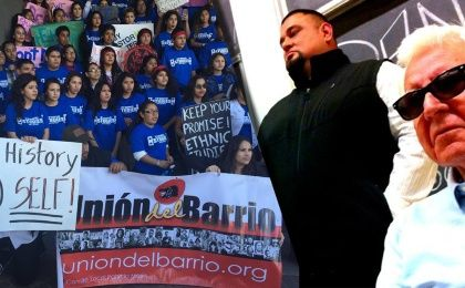California students demand ethnic inclusion in schools (left) and Sean Arce stands with Rudy Acuña, Ph.D