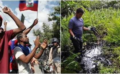 Demonstrators shout anti-government slogans in Port-au-Prince (L), while a man wades through the oil-contaminated area in Ecuador