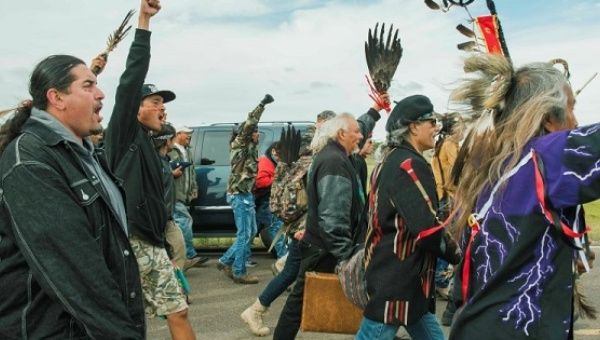 Protesters demonstrate against the Dakota Access Pipeline near the Standing Rock Sioux reservation in Cannon Ball, North Dakota, Sept. 9, 2016.