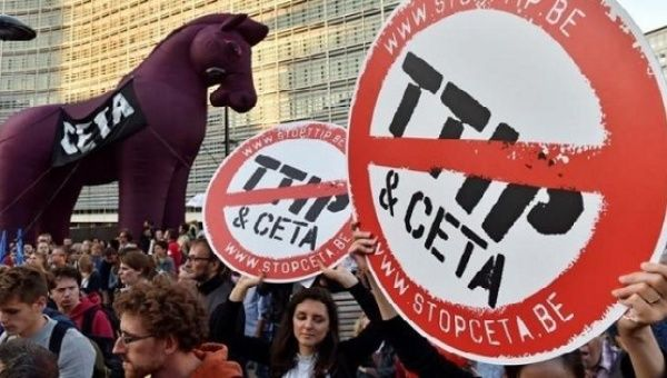 No Ttip No Ceta Brussels Protests Against Free Trade News