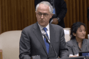 Australian Prime Minister Malcolm Turnbull speaking at the United Nations General Assembly