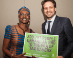 Ecuador's Foreign Minister Guillaume Long and Oxfam Executive Director Winnie Byanyima call for regulating tax havens, New York, Sept. 21, 2016.