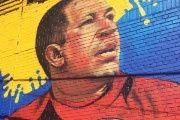 The image of former Venezuelan President Hugo Chavez in a street of the Bronx in New York
