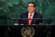 Cuba's Foreign Minister Bruno Rodriguez addresses the United Nations General Assembly in New York.