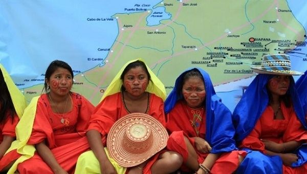 Wayuu Indigenous people during a protest against the death of children in their community due to malnutrition.