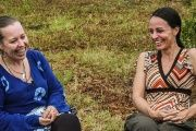 FARC members Natalie Mistral (L) and Tanja Nijmeijer are participating in a national meeting of the group deep in their stronghold in southeast Colombia.