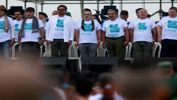 FARC leaders at the congress where they prepare for ratifying a peace deal with the government, near El Diamante in Yari Plains, Colombia, Sept. 17, 2016.