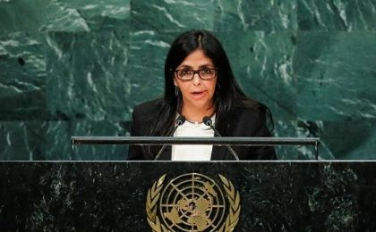 Venzuelan Foreign Minister Delcy Rodriguez speeking at the U.N. in New York on Friday.
