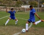 Players from Ariel Municipal Soccer Club, who are affiliated with Israel Football Association, train ahead of their match with Maccabi HaSharon Netanya in the West Bank Jewish settlement of Ariel, Sept. 23, 2016.