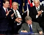 President Bill Clinton trumpeted NAFTA's labor protections when he signed the deal into law in 1993.