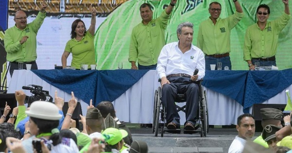 Lenin Moreno (in white) was elected presidential candidate for Alianza Pais, while President Rafael Correa and other politicians cheered.