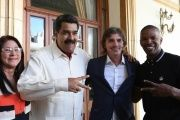 Jamie Foxx and Lukas Haas with President Nicolas Maduro.