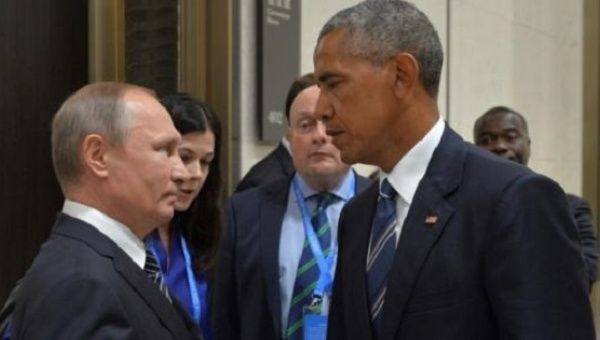 Russian President Vladimir Putin meets with U.S. President Barack Obama on the sidelines of the G20 Summit in Hangzhou, China, Sept. 5, 2016.