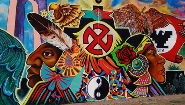 A mural in Chicano Park, San Diego shows the indigenous, politicized consciousness of Mexican-Americans in the U.S. Southwest