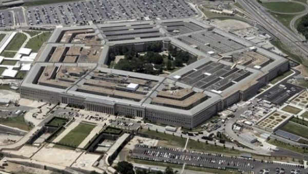 An aerial view of the Pentagon building
