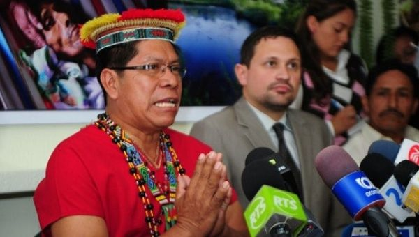 Humberto Piaguaje, representative of Ecuadorean people affected by Chevron during a press conference in Quito, Nov. 13, 2013
