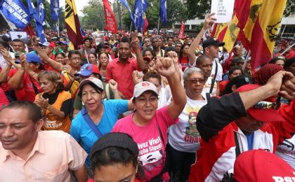 Indigenous peoples marched against imperialism in Venezuela on the Day of Indigenous Resistance.