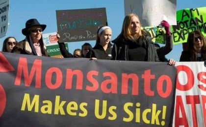 Activists protesting outside Monsanto headquarters in Creve Coeu, Missouri.