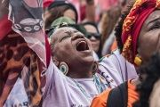Black women march against gender violence and racism in Brazil.