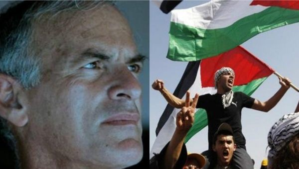 Norman Finkelstein (L) and Palestinians fighting Israeli occupation (R).