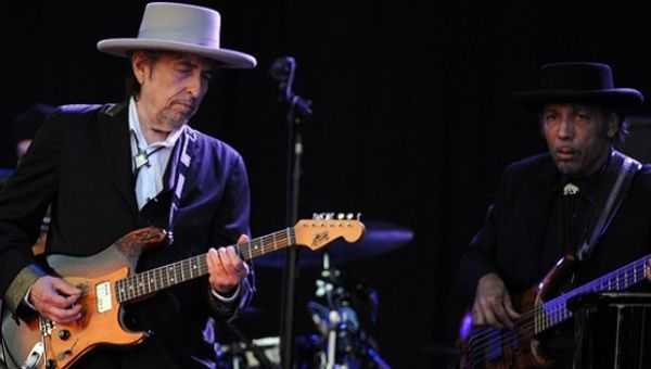 Bob Dylan performing in 2012.
