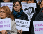 Women join the national strike against femicide in Argentina in San Carlos de Bolívar, Buenos Aires Province, Sept. 19, 2016.