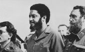 Grenadian revolutionary Maurice Bishop with Cuban revolutionary Fidel Castro.