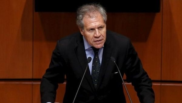 OAS Secretary General Luis Almagro during a speech in Mexico.