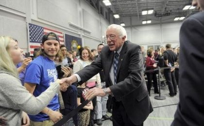 U.S. Democratic presidential candidate and U.S. Senator Bernie Sanders shakes hands with supporters after speaking at a campaign rally in Manchester, New Hampshire January 4, 2016.