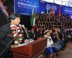 Bolivian President Evo Morales delivers remarks regarding scientific innovation in the country