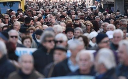 Greek pensioners rally in Athens on Tuesday, against a planned overhaul of the country's pension system.