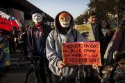 Activists took to the streets in Chile earlier this year to protest against the TPP and Monsanto.